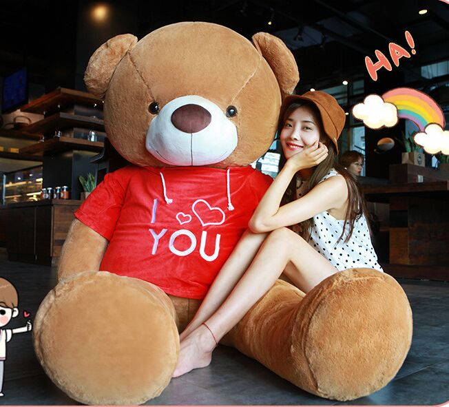 huge 160cm lovely Teddy bear plush toy i love youcloth bear soft doll hugging pillow birthday gift h2501huge 160cm lovely Teddy bear plush toy i love youcloth bear soft doll hugging pillow birthday gift h2501
