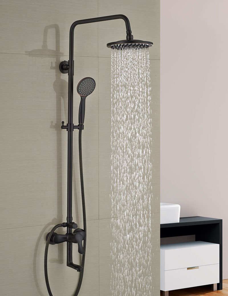 Wholesale And Retail Oil Rubbed Bronze Wall Mounted Shower Faucet Set Tub Spout W/ Hand Shower Sprayer Rain Shower Mixer Tap wholesale and retail promotion wall mounted bathroom tub faucet spout w hand shower sprayer antique brass shower mixer tap