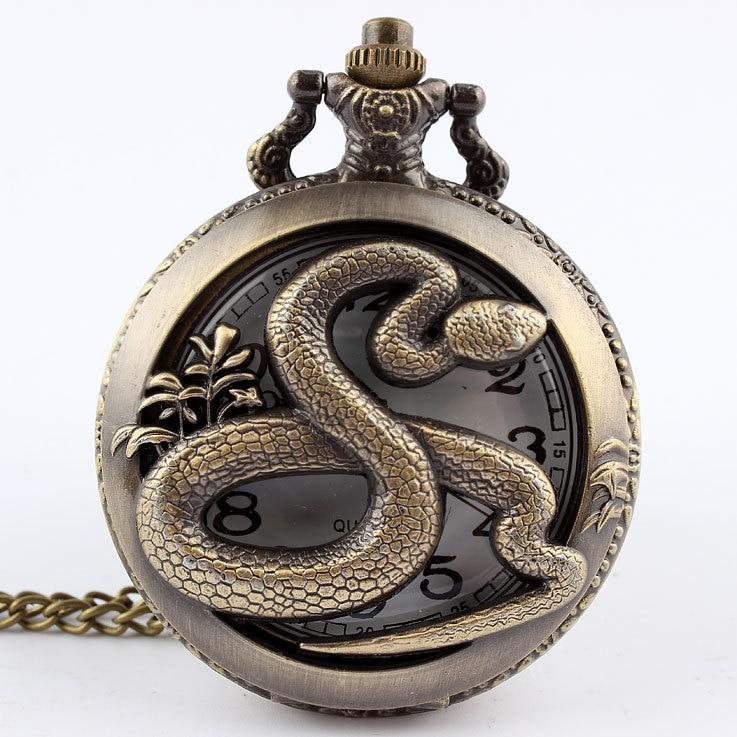 Dropshipping Bronze Snake Hollow Quartz Pocket Watch Necklace Pendant Womens Men Gifts P278
