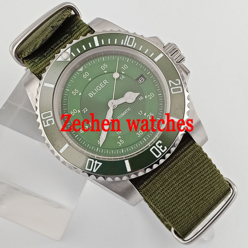 40mm Bliger Green Dial Nylon Sapphire Glass Automatic Men's Casual Wrist Watches
