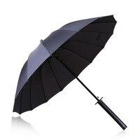 Creative Windproof Waterproof Japanese Samurai Ninja Katana Umbrella Sun Rain Golf Umbrellas 2017 NEW Black Long
