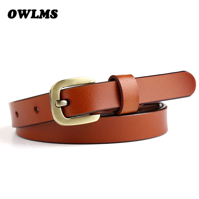 Womens belt strap casual all-match Woman brief genuine leather belts brown pure color cowhide solid Top quality jeans belt thin