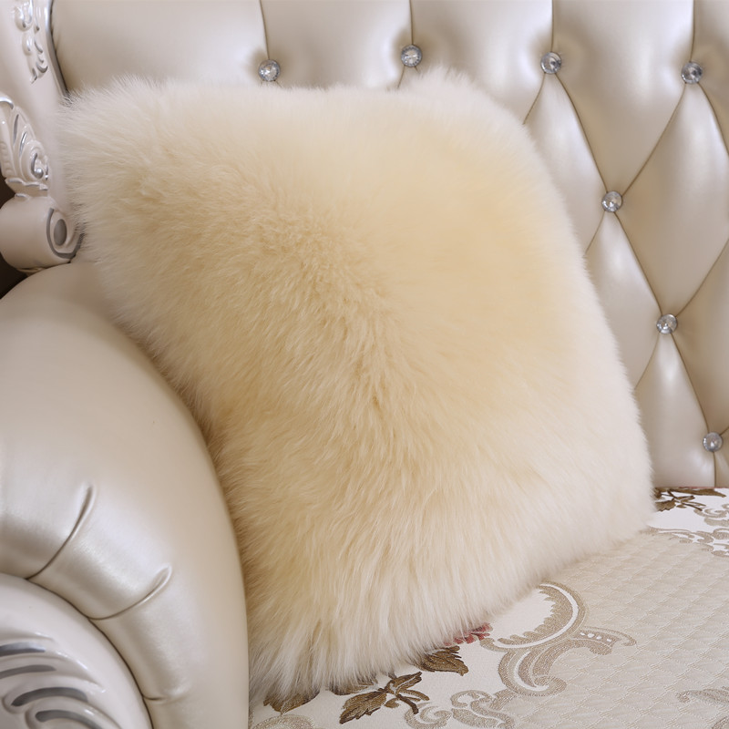 Sheepskin Wool Pillow Bed Pillow Sofa Cushion Wool Fur Cushion Pad Car Back Cushion Insert Cushion Decorative