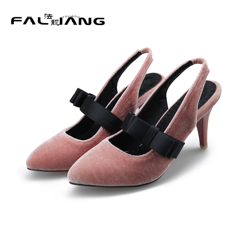 ФОТО 2017 New Flock Casual high heels Solid Sandals Big Size 11 12 Sexy Butterfly-knot Thin Heels women shoes woman ladies womens
