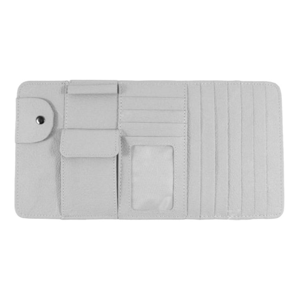 Multifunctional Vehicle Car Sun Visor Clip CD Folder Card Holder Stowing Tidying Car Organizer Pen Storage Bag Holder Grey Color