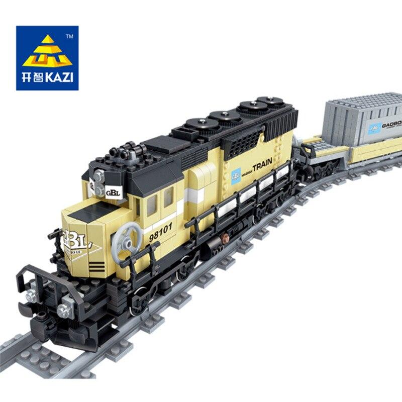 KAZI Alimenté Par Batterie Maersk Train Train Porte-conteneurs Diesel-électrique Train Blocs De Construction Jouets Éducatifs pour Enfants 98101