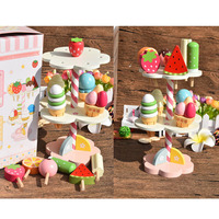 Simulation Magnetic Ice Cream Wooden Pretend Play Kitchen toys for children gift