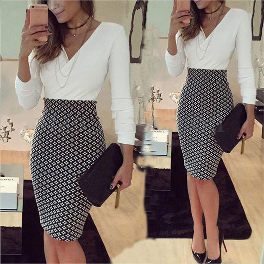 Women's Office dress Formal Business Stretch Cocktail Party elegant grid patchwork sheath Slim OL work mini lady Pencil Dress 1