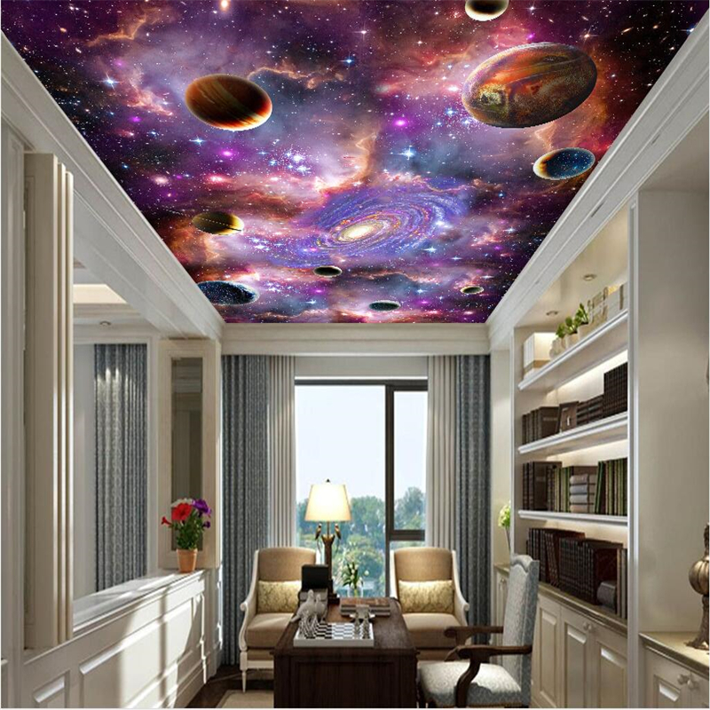 Beibehang Custom Wallpaper Large High-End 3D Stereo Painting Ceiling Mural Universe Stars Galaxy Floor Wall Papers Home Decor