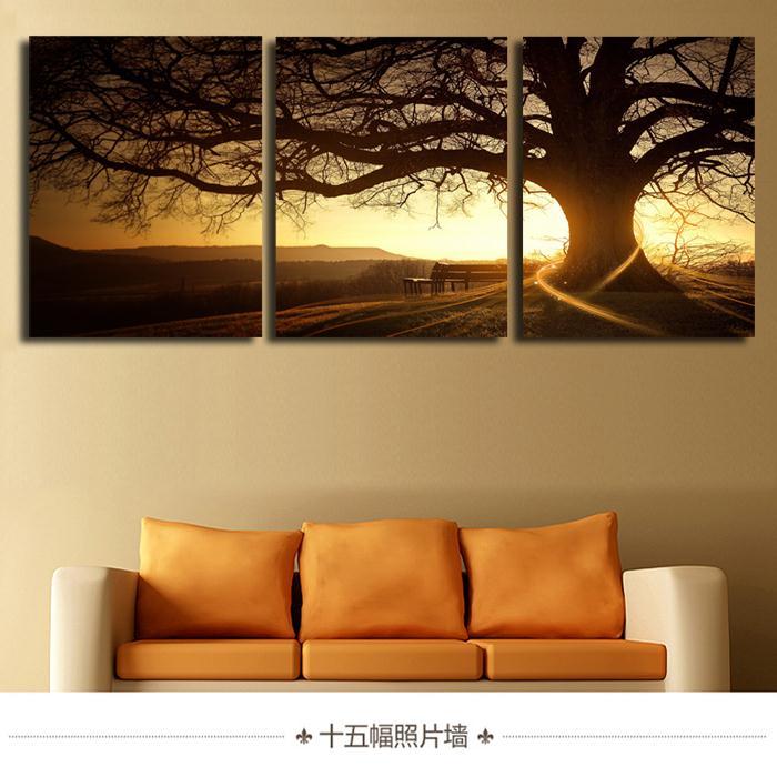 3 kusy / sada Moderní tištěný strom Malba Obrázek Cuadros Západ slunce Obraz na plátně Umělecká výzdoba domu Obývací pokoj Bez rámečku