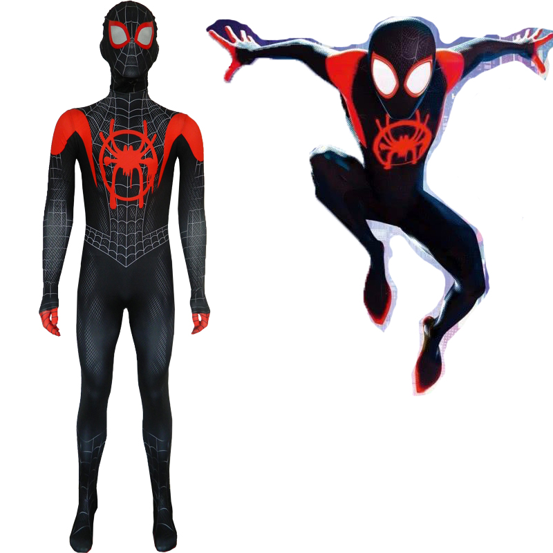 Spiderman Costume Adult Spider-man Into The Spider Verse Miles Morales Cosplay Costume,Children Kids Spiderman Pattern Bodysuit