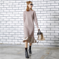 [TWOTWINSTYLE] 2017 Winter Hit Color Splicing Velvet Knitted Dress Long Sleeve Vintage New