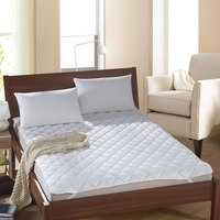 White Bed Protection Pad Quilted Mattress Protector Hotel Mattress Cover Polyester Woven Single Twin Full Queen