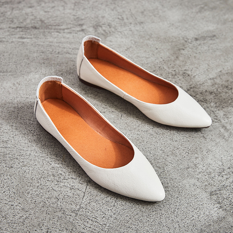 Pointed Toe Genuine Leather Shoes New 2018 Slip On Mary Janes Women's Flats For Ladies Work Shoes Fashion Casual Loafers Black odetina 2017 new women pointed metal toe loafers women ballerina flats black ladies slip on flats plus size spring casual shoes