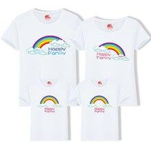 Fotografi Bëni Rainbow Family Rrobat që përputhen me Rrobat T Rastesishme për Veshjet Vajza Nëna Babai Nënë Papa Familia Veshjet