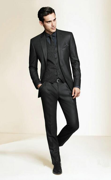 Black Slim Fit 3 Piece Suit Dress Yy