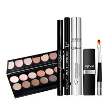 12 Color Matte Smoky Eye Shadow Palette+Eyebrow Pencil+Mascara+Liquid Eyeliner eye Liner+Lipstick Lip Brush Makeup Cosmetics Set