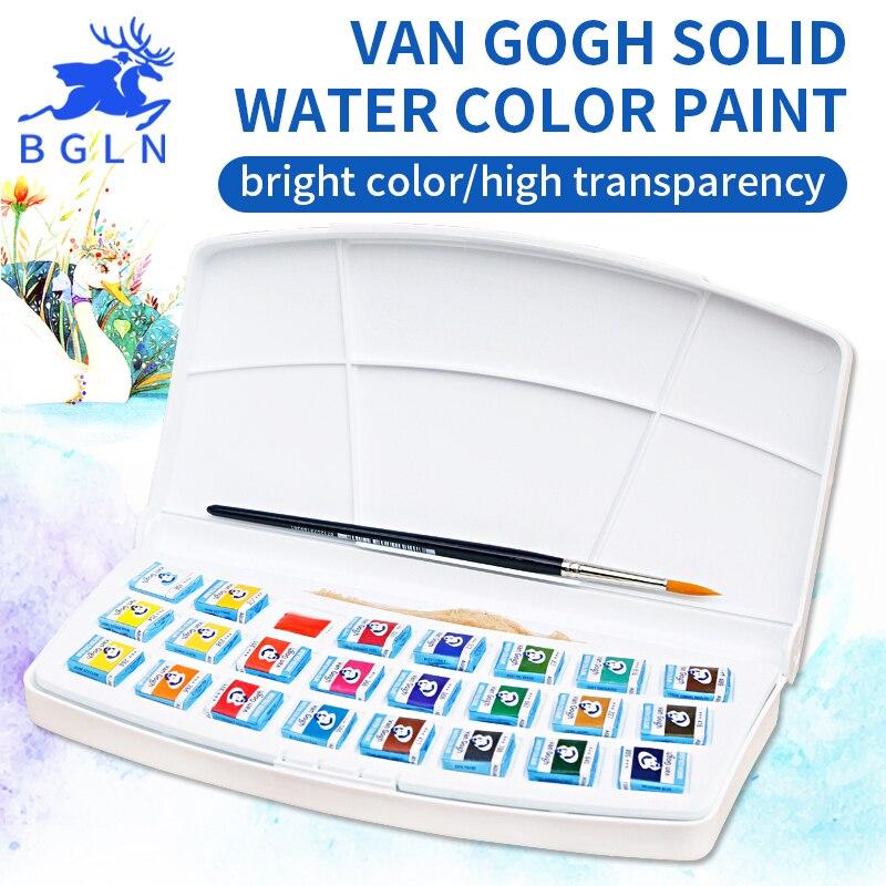 24 Colors Van Gogh Solid Watercolor Pigment , Nature Sponge With Paintbrush ,Plastic Case Water Color Paint Art Supplies настенные фотокартины van gogh fruit df 218