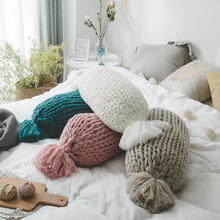 luxury chunky giant yarn Throw pillows for couch bed solid thick handmade knitted decorative cushions for living bedding room knitted cushions