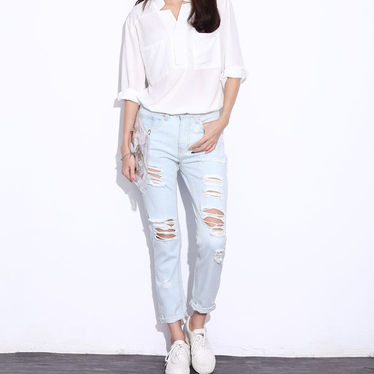 2016 Hot Sale Light Blue Hole Ripped Jeans Women Scratched ...