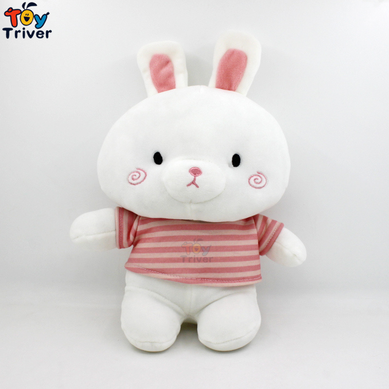 30cm Plush Striped Shirt White Rabbit Toy Stuffed Animal Doll Baby Girl Boy Kids Children Birthday Promotion Gift Sleeping Toys