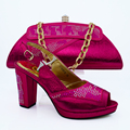 fuchsia Charming Italian Shoes With Matching Bags Rhinestones/High Quality African Shoes And Bags Set for Wedding!HVB1-72
