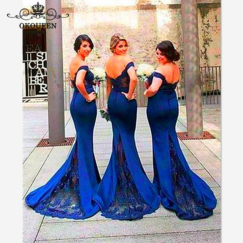 Royal Blue Satin Lace Mermaid   Bridesmaid     Dresses   2019 Appliques Off Shoulder Long Maid Of Honor   Dress   Wedding Guest For Women
