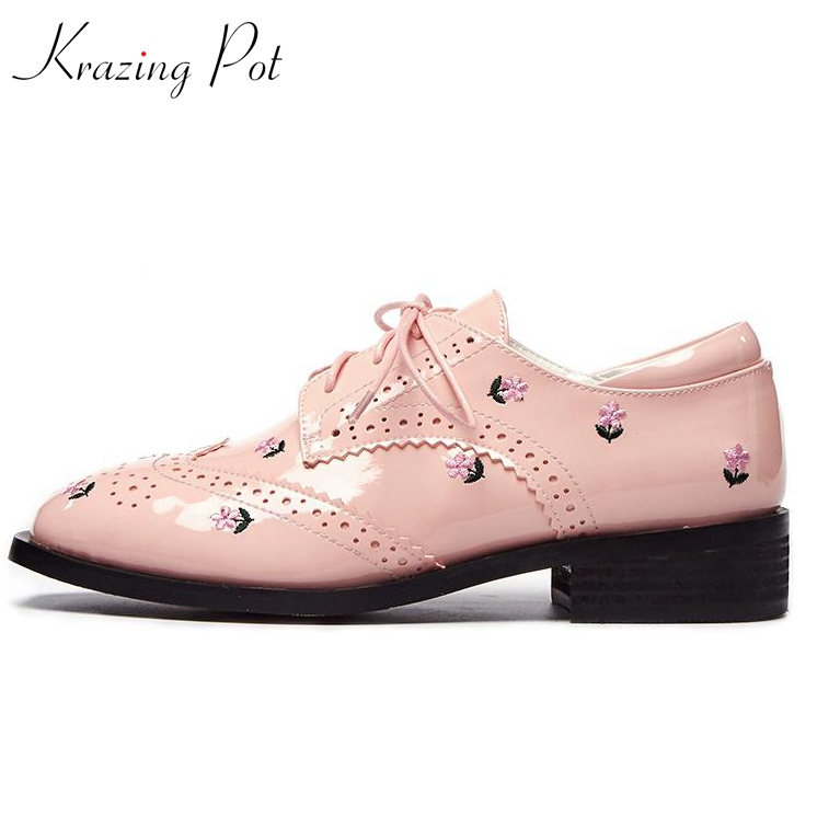 Krazing pot recommend brand shoes round toe embroidery flower lace up thick med heels women pumps sweet British school shoes L20 xiaying smile woman pumps shoes women spring autumn wedges heels british style classics round toe lace up thick sole women shoes