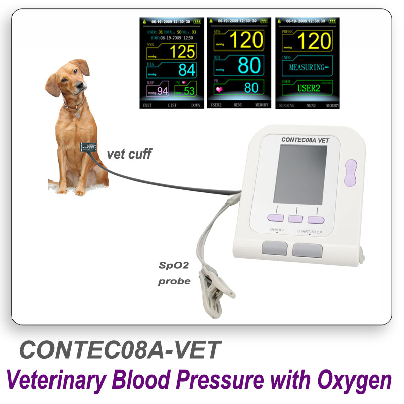 CONTEC08A Digital Veterinary NIBP Blood Pressure Monitor and pluse oximeter probe Animal ARM Circuference Cuff for