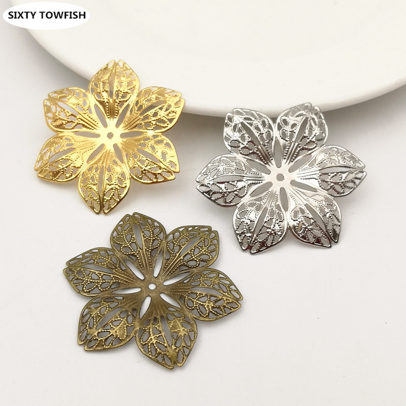 20 pcs/lot 43mm 3Colors Metal Filigree Flowers Slice Charms base Setting DIY Components Jewelry Findings B103141