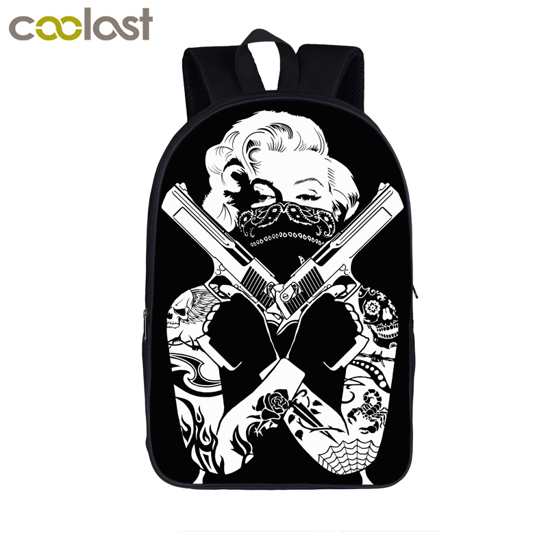 Fallen Angel / Marilyn Monroe With Gun Backpack For Teenage Girls Boys Children School Bags Women Men Backpack Kids Book Bags