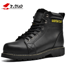 Z.SUO Retro Fashion Men's Casual Boots High Quality Full Grain Leather Upper Rubber Outsole Male Working Safety Boots ZSGTY16008