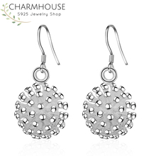 Charmhouse Solid 925 Silver Earrings for Women Flower Drop Earing Brincos Femme Pendientes Wedding Bridal Jewelry Best Friend charmhouse 925 silver earrings for women leaf dangle earing brincos pendientes fashion jewelry accessories party gifts