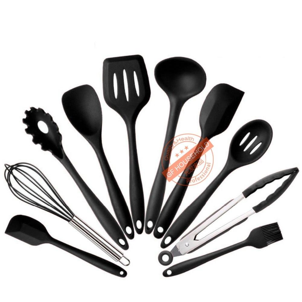 nero silicone utensili da cucina utensile da cucina set di utensili di cottura barbecue strumenti torta