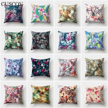 CUSCOV creative colorful flower polyester sofa cushion cover plant best-selling pillow case home decoration chair