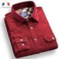 Langmeng 2016 Мужские Slim fit 100% хлопок вельвет повседневная Рубашка уникальный мужчины рубашки с длинным Рукавом Мужская мода горошек рубашки