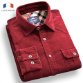 Langmeng 2016 Mens Slim fit 100% cotton corduroy casual Shirt Unique men Dress shirts long Sleeve Mens fashion polka dot shirts