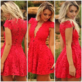 HC30 Short Red Homecoming Dresses Lace Deep V Neck Red Lace Homecoming Dress 2016 Short Cocktail Dresses Prom Party Dress