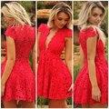 HC30 Vermelho Curto do Regresso A Casa Vestidos Lace Decote Em V Profundo Laço Vermelho Vestido 2016 Vestidos de Cocktail Curto do baile de Finalistas do Regresso A Casa Vestido de Festa