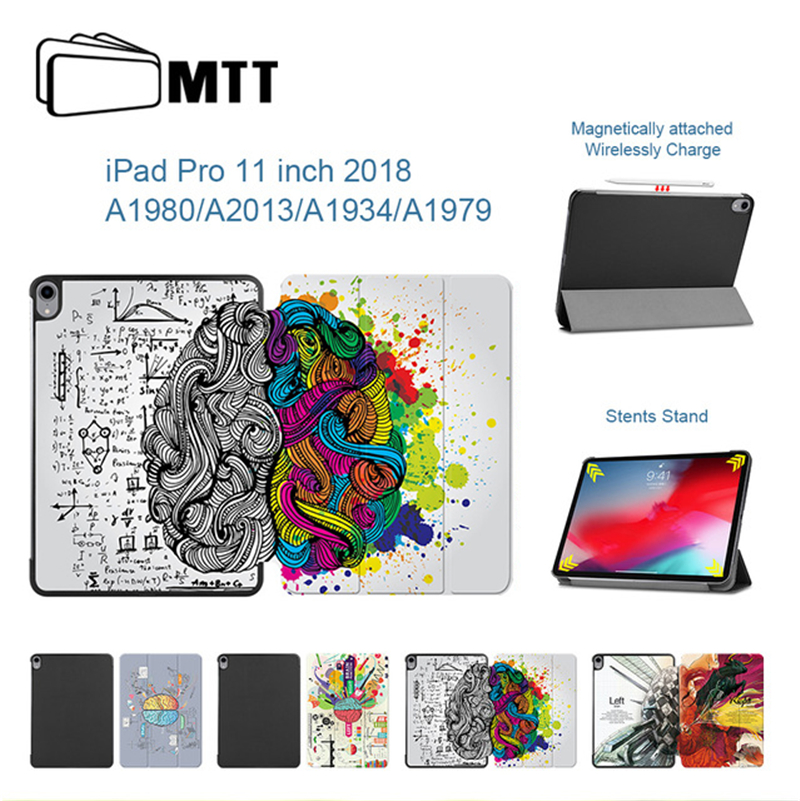 MTT Brain Graffiti Case For iPad Pro 11 inch PU Leather Magnetic Flip Fold Stand Cover for iPad Pro 11 2018 Tablet Case A1980