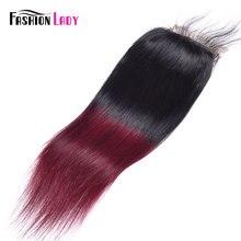 Cierre de encaje de cabello humano peruano precoloreado para mujer, Ombre T1B/99j, cierre de tejido recto de 4x4 pulgadas no remy