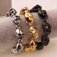 Menc Kühle Hip Hop Style Silber Gold Schwarz Edelstahl Skeleton Schädel Link Armband Knebelverschluss 15mm