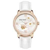 2018 Reef Tiger/RT Brand Luxury Fashion Watch Women Automatic Watch Rose Gold Genuine Leather Strap Watch Reloje Mujer RGA1585