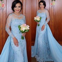 Amazing Mermaid Blue Evening Dresses 2019 Long Sleeve Tulle Applique Beading Sweep Train New Arrival Prom Dresses xq02