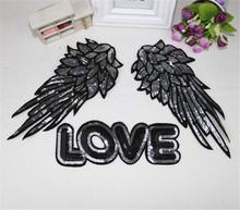 Full set Wings love sequins embroidered patch applique vintage sewing on patch fashion clothing decoration patches accessories