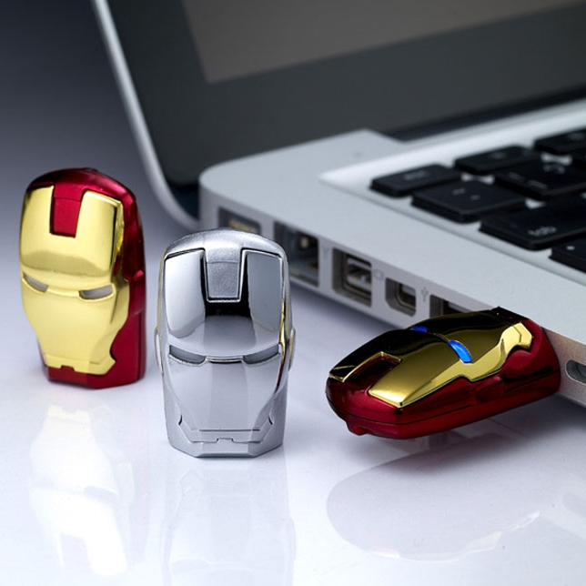 Fashion Avengers Iron Man LED Light 64gb USB Flash 2.0 Memory Drive Stick Pen/Thumb/Car Key Pendrive 128GB 512GB 1TB 2TB Gift