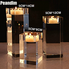 PEANDIM K9 Crystal Wedding Candlestick Home Decorations Table Centerpiece Merry Christmas Holidays Small Tealight Candle Holders