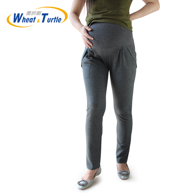 Dark Grey Good Quality Cotton Maternity Pants All Match All Season Suitable Comfortable Casual Harlan Pants For Pregnant Women