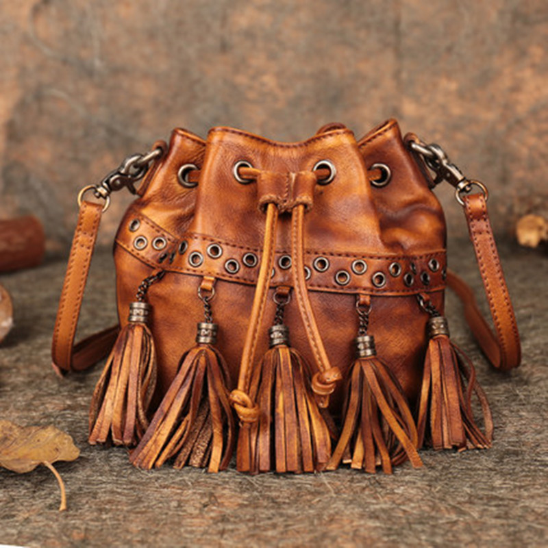 Manual Original Vintage Women Lady Genuine Leather Tassels Bucket Handbags Cow Leather Shoulder Bag Crossbody Messenger Bags 2018 fashion cow leather women shoulder bags tassel lady handbags genuine leather woman crossbody bag