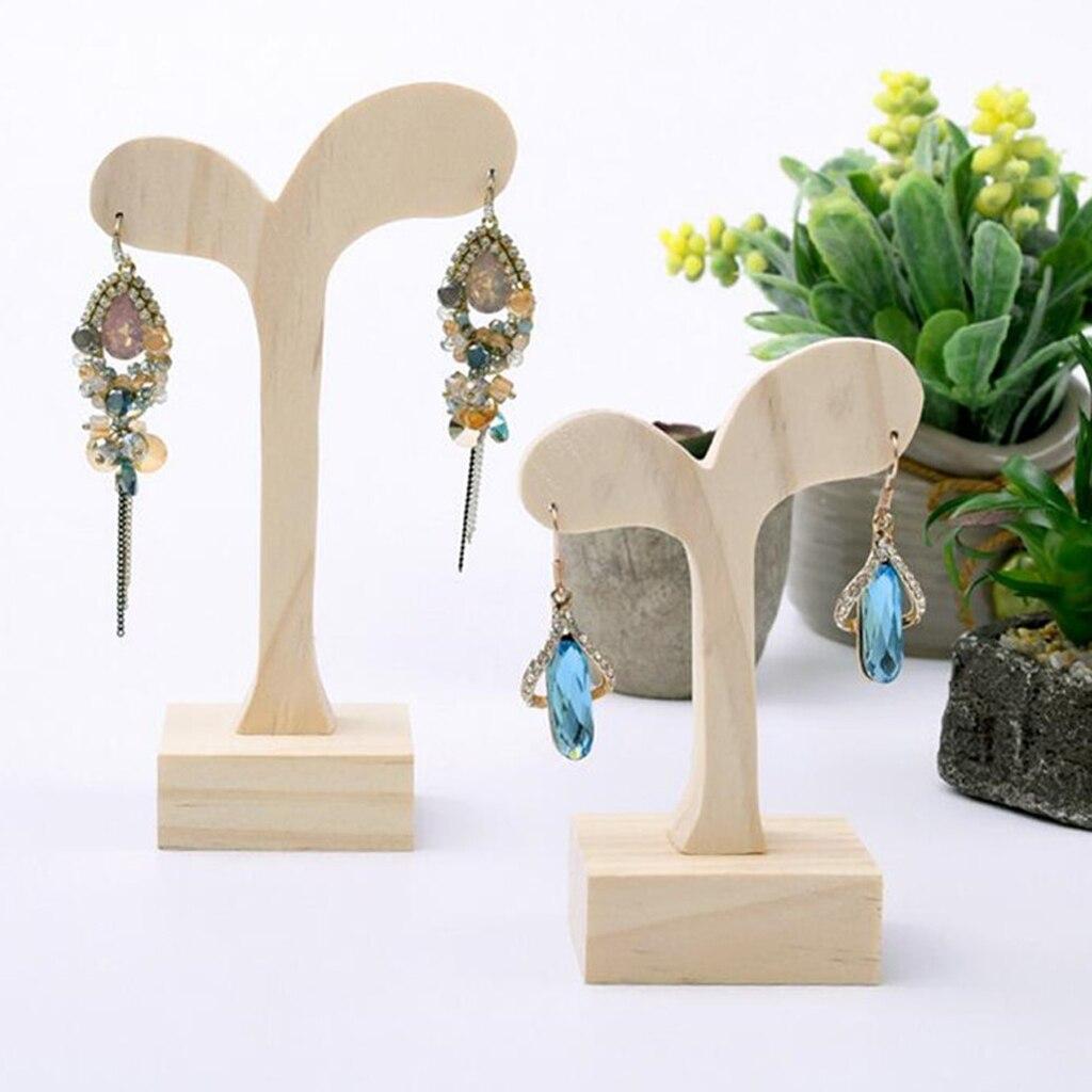 Природных Незавершенного Деревянные серьги стенд деревянные украшения Дисплей держатель организаторы
